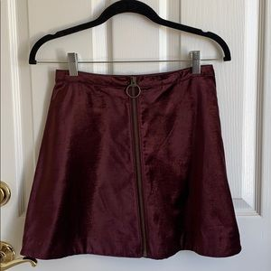 Free People Maroon/Burgundy/Wine Velvet Zip Skirt